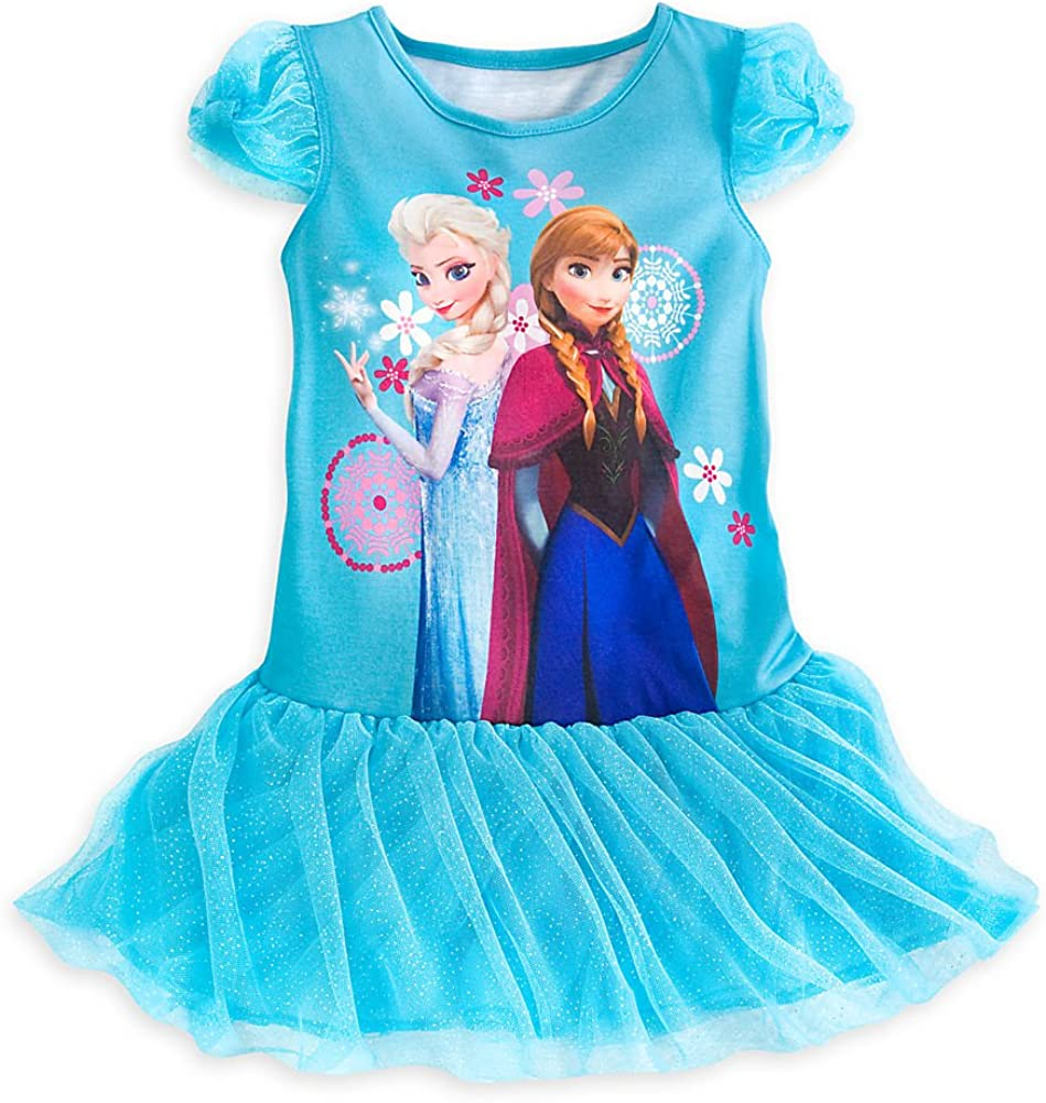 Disney Store Frozen Elsa/Anna Deluxe Nightgown Nightshirt Size Small 5/6 (5T) Blue