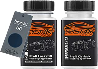 TRISTARcolor Autolack Lackstift Set für Hyundai UC Carbon Blue Metallic Basislack Klarlack je 50ml