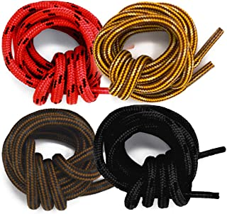 Honey Badger Work Boot Laces (4 Pairs) Heavy Duty W/Kevlar - USA Made Round Shoelaces for Boots