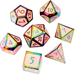 DND Metal Game Dice Set Cream Pink with Rainbow Edge and Numer 7pc Set for Dungeons and Dragons RPG MTG Table Games D4 D6 D8 D10 D12 D20