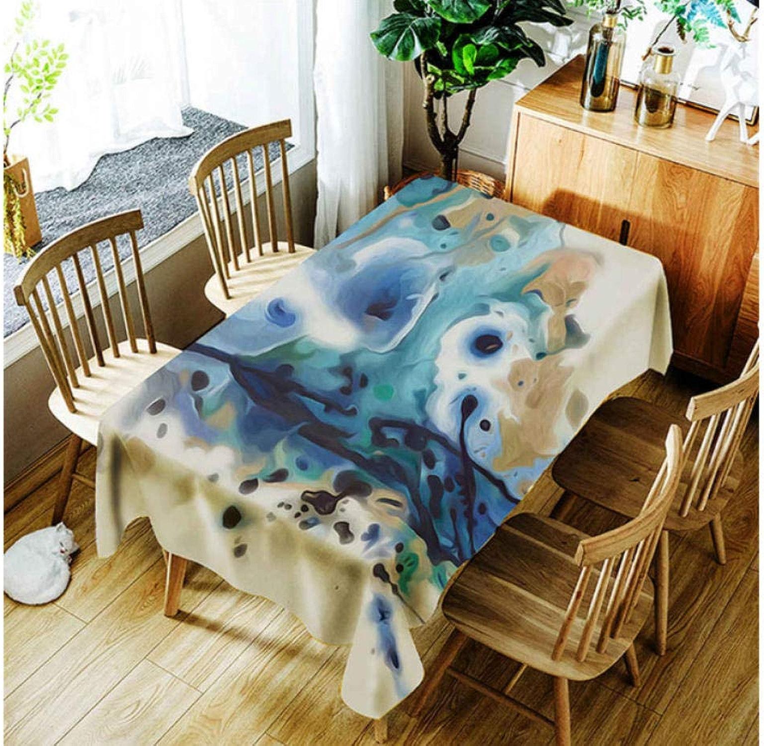 FFYSNN Polyester Tissu 3D Nappe pour Cuisine Restaurant Peinture à L'Encre Abstrait Paysage Motif Table Cloth pour Mariage Restaurant Party Decor140x220cm