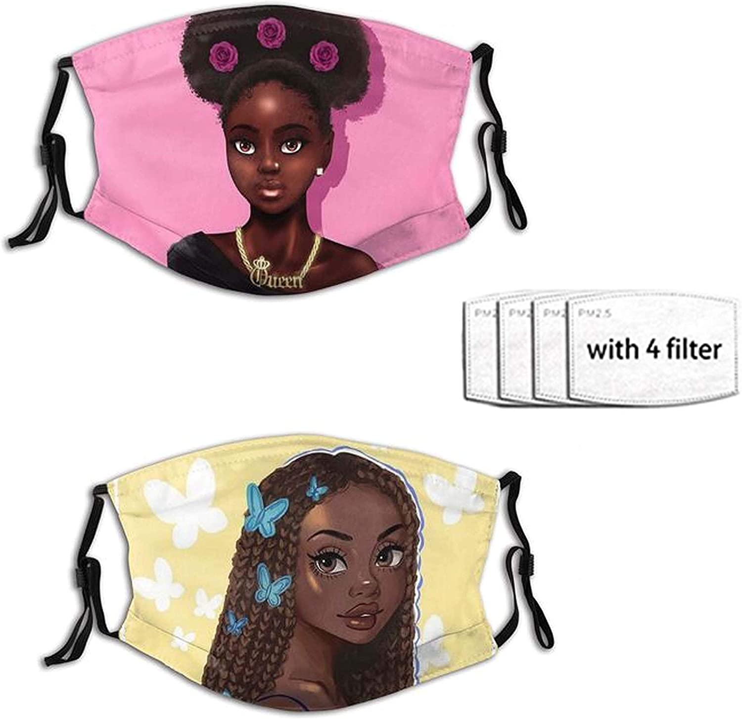 2 PCS African American Women Girl Face Mask for Adults Teens,Reusable Fashion Scarves Waterproof With 4 Filters for Women Men