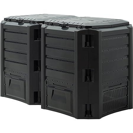 Deuba Compostador con Capacidad de 800L Negro - producción Humus abono Natural de jardín Resistente Intemperie Exterior
