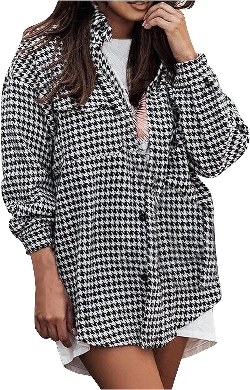 Women Baggy Lapel Wool Blend Plaid Shirt Overcoat Plus Size Button Down Patchwork Blouse Coat Cardigan Jacket