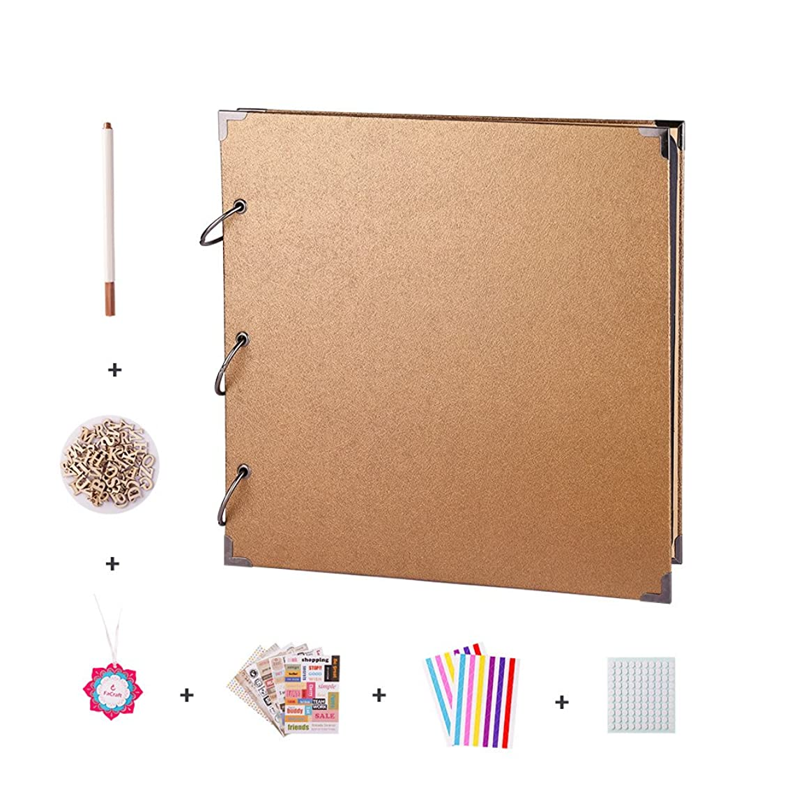 FaCraft Scrapbook Album with Scrapbooking Supplies (11x11 Gold)