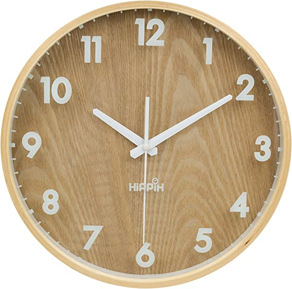 12 Silent Wall Clock Wood Non Ticking Digital Quiet Sweep Home Decor Vintage Wooden Clock
