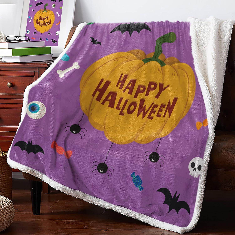 MuswannaA Overseas parallel import regular item Sherpa Fleece Throw Blanket Very popular! So Element Halloween Super