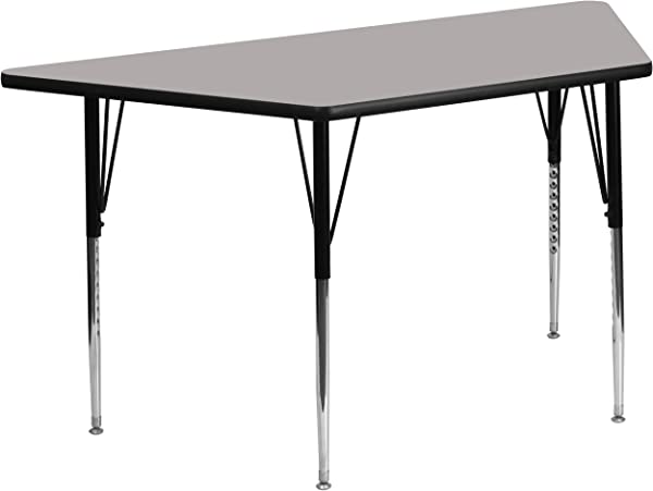 Flash Furniture 29 5 W X 57 25 L Trapezoid Grey HP Laminate Activity Table Standard Height Adjustable Legs