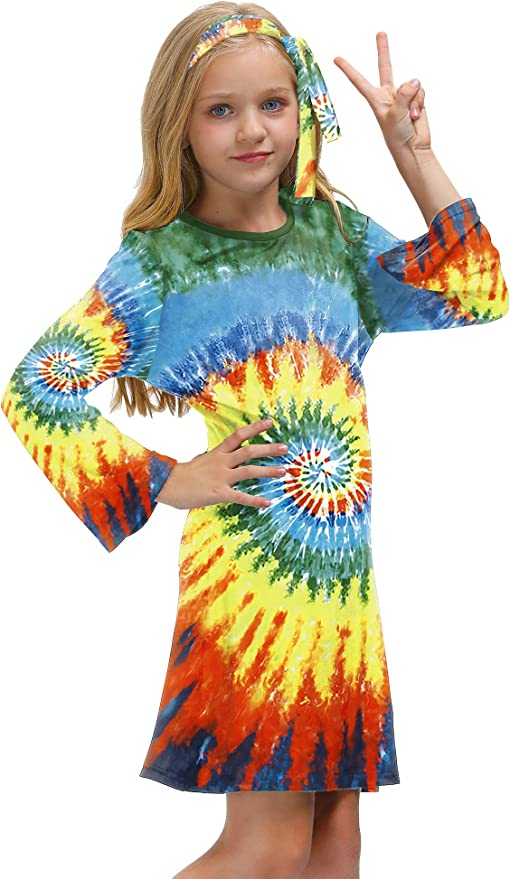 60s 70s Kids Costumes & Clothing Girls & Boys BesserBay Girls 70s Retro Hippie Bell Sleeve Midi Dress with Headband 4-12 Years  AT vintagedancer.com