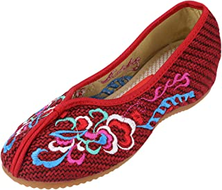 CINAK Womens USAC107 Embroidery Flats Slippers Flower- Casual Slip-ons Comfortable Loafer Chinese Embroidered Shoes