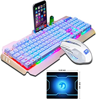 FELICON Gaming Keyboard Mouse Sets Rainbow LED Backlit Multimedia Ergonomic Wired USB Keyboard with Phone and Lighter Stand+2400DPI 6 Buttons Gaming Mouse Sets+Mouse Pad (White Gold/Rainbow Light)