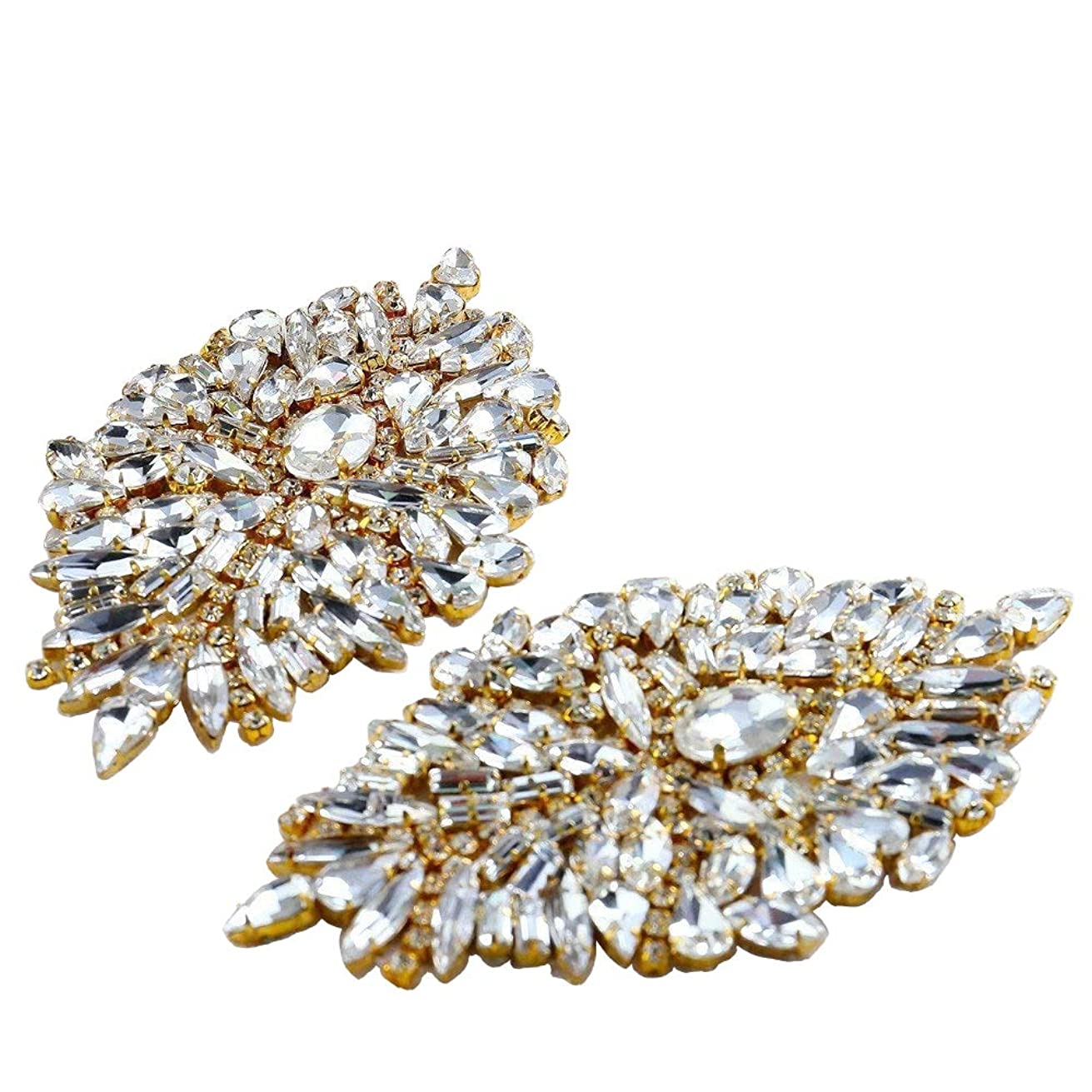 Rhinestone Iron On Patch Motif Applique DIY Crystals Patch Rhinestone Hot Fix Applique Sewing Appliques for Shoes Pack - 2 Pieces-Gold (4.1