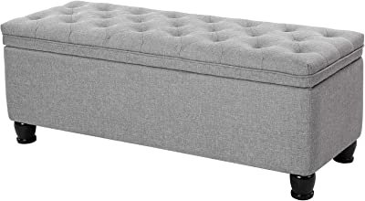 "SONGMICS Storage Ottoman Bench, Linen Fabric Footstool with Foam Padded Seat, Solid Wood Legs, 46.5"", Light Gray"