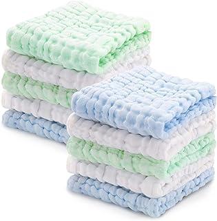 مناشف من قماش الموصلي للاطفال من زنوورلد، مصنوعة من القطن 100%، قابلة لاعادة الاستخدام، بتصميم مربع للاستحمام وتنظيف الايد...