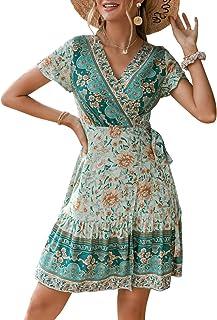 Glamaker Women's Casual V Neck Bohemian Floral Print Ruffle Swing A Line Beach M
