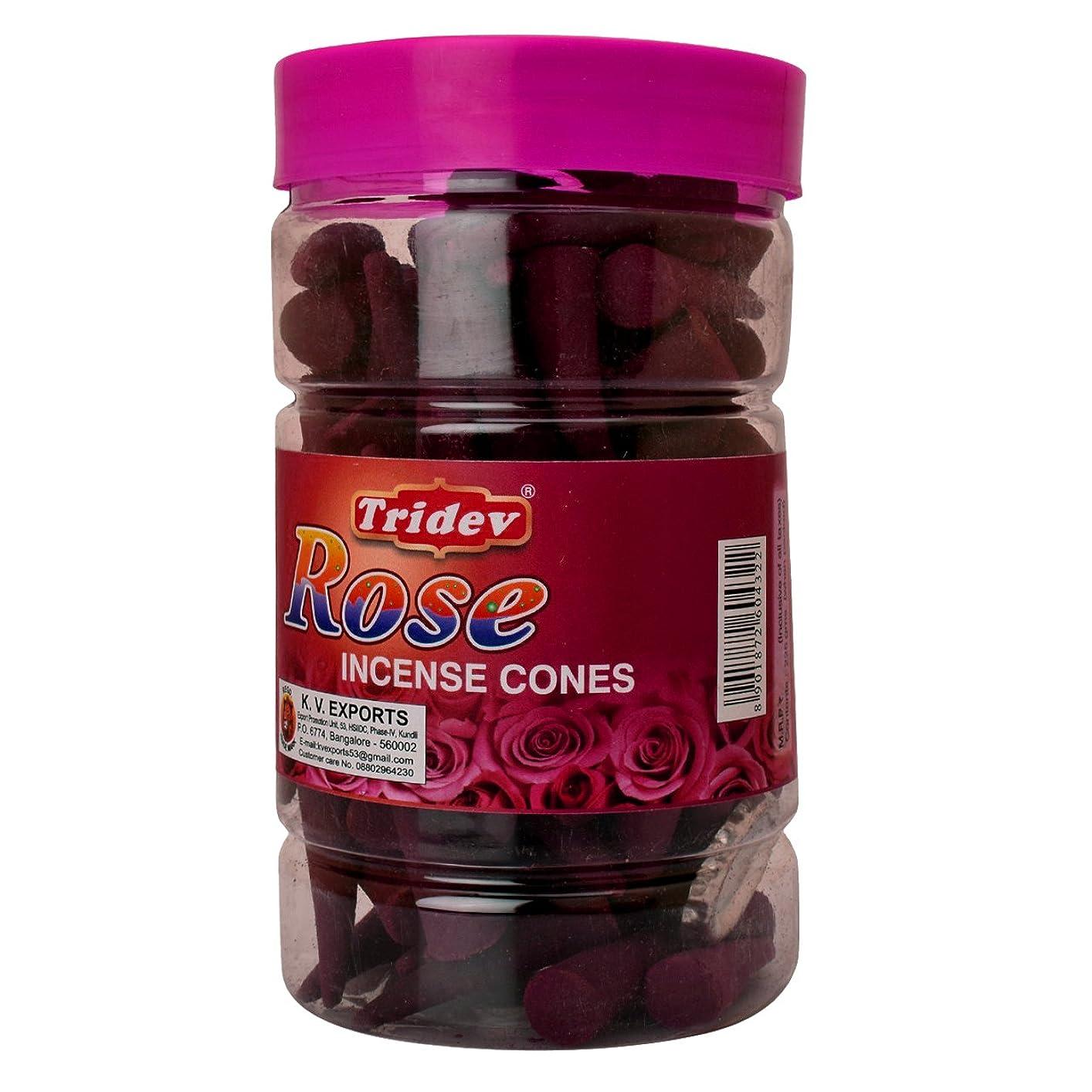 クラフト単位影響力のあるTridev Rose Incense Cones Jar 225グラムパック