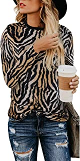 Women's Leopard Print Blouses Cheetah Tunics Pullover Camouflage Printed Tops Shirts