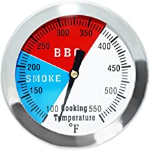 DOZYANT 2 Inch Barbecue Charcoal Grill Smoker Temperature Gauge Pit BBQ Thermometer Fahrenheit and Heat Indicator for Meat Cooking Port Lamb Beef, Stainless Steel Temp Gauge