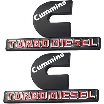 2 Pack Cummins logo 3D badge Emblems Door Tailgate Nameplate Letter Fender Decals compatible with 2500 3500 Matte Black