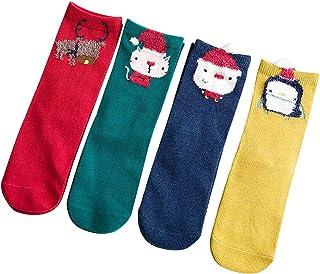 ggudd Niña 4 pares Calentar Linda Dibujos Animados A Rayas Cómoda Christmas Calcetines