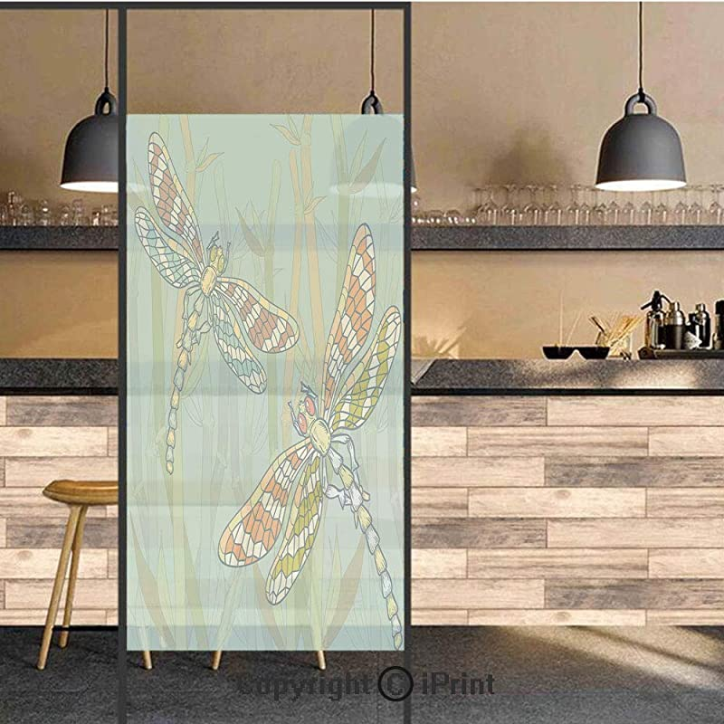 3D Decorative Privacy Window Films Doodle Style Giant Dragonfly Figures On Lake Bushes Nature Exotic Picture Art No Glue Self Static Cling Glass Film For Home Bedroom Bathroom Kitchen Office 24x71 Inc