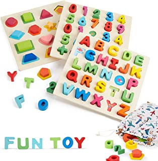 Wooden Alphabet Puzzle Board, Name Puzzle, Learning Toys for Toddlers, Wooden Letters ABC Puzzle +Number Puzzle+Shape Puzzle Boards, Preschool Toys for Boys and Girls (3 Sets)