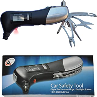 Swiss Ascent Car Gift Tool, 10-in-1 Multi Tool - Digital Tire Pressure Gauge, Car Window Breaker, LED Flashlight, Seatbelt Cutter, Pliers, Scissors, Screwdriver, Best Car Auto Gift Idea For Men Women