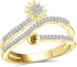 Jewelexcess 1/4 CTW 银白色钻石戒指