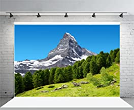 Laeacco 8x6.5FT Vinyl Backdrop Photography Background Beautiful Mountain Landscape Views Matterhorn Peak Pennine Alps Switzerland Nature Snow Mountain Green Trees Backdrop Children Photo Portrait