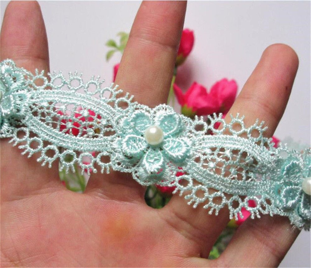 2 Meters Flower Pearl Lace Edging Trim Ribbon 45mm Width Vintage Style White Trimmings Fabric Embroidered Applique Sewing Craft Wedding Bridal Dress Embellishment Party Decoration Clothes Embroidery