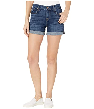 7 For All Mankind Relaxed Mid Roll Shorts in Broken Twill Plaza (Broken Twill Plaza) Women