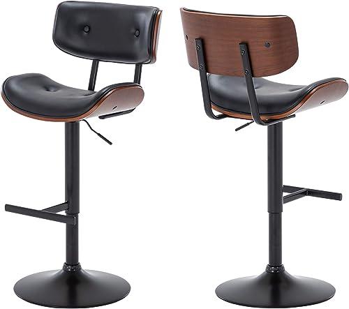 discount BELLEZE Set of (2) Contemporary Tufted Upholstered Swivel Hydraulic Adjustable Height outlet online sale Walnut Bar outlet sale Stool, Black online