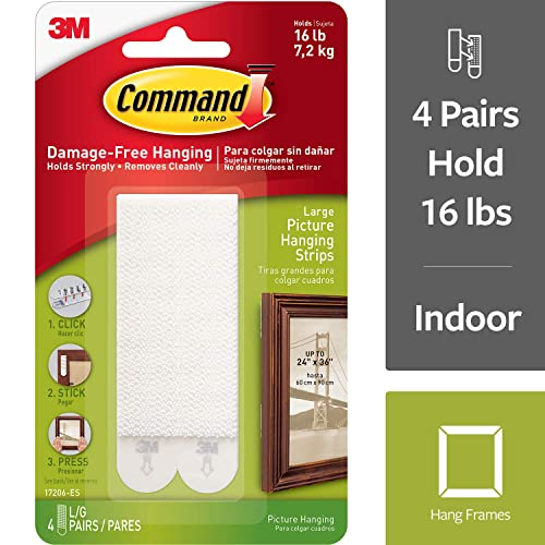 Command Large Picture Hanging Strips, White, Decorate Damage Free, Strong and Versatile,