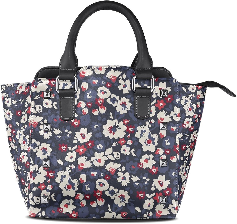 My Little Nest Women's Top Handle Satchel Handbag Vintage Flowers Ladies PU Leather Shoulder Bag Crossbody Bag