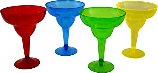 KINREX Margarita Plastic Glasses Set - Disposable Cinco de Mayo Cups - Colorful Mexican Cocktail Party Decorations - 11.5 Ounces - 20 Count - Assorted Red, Blue, Green and Yellow