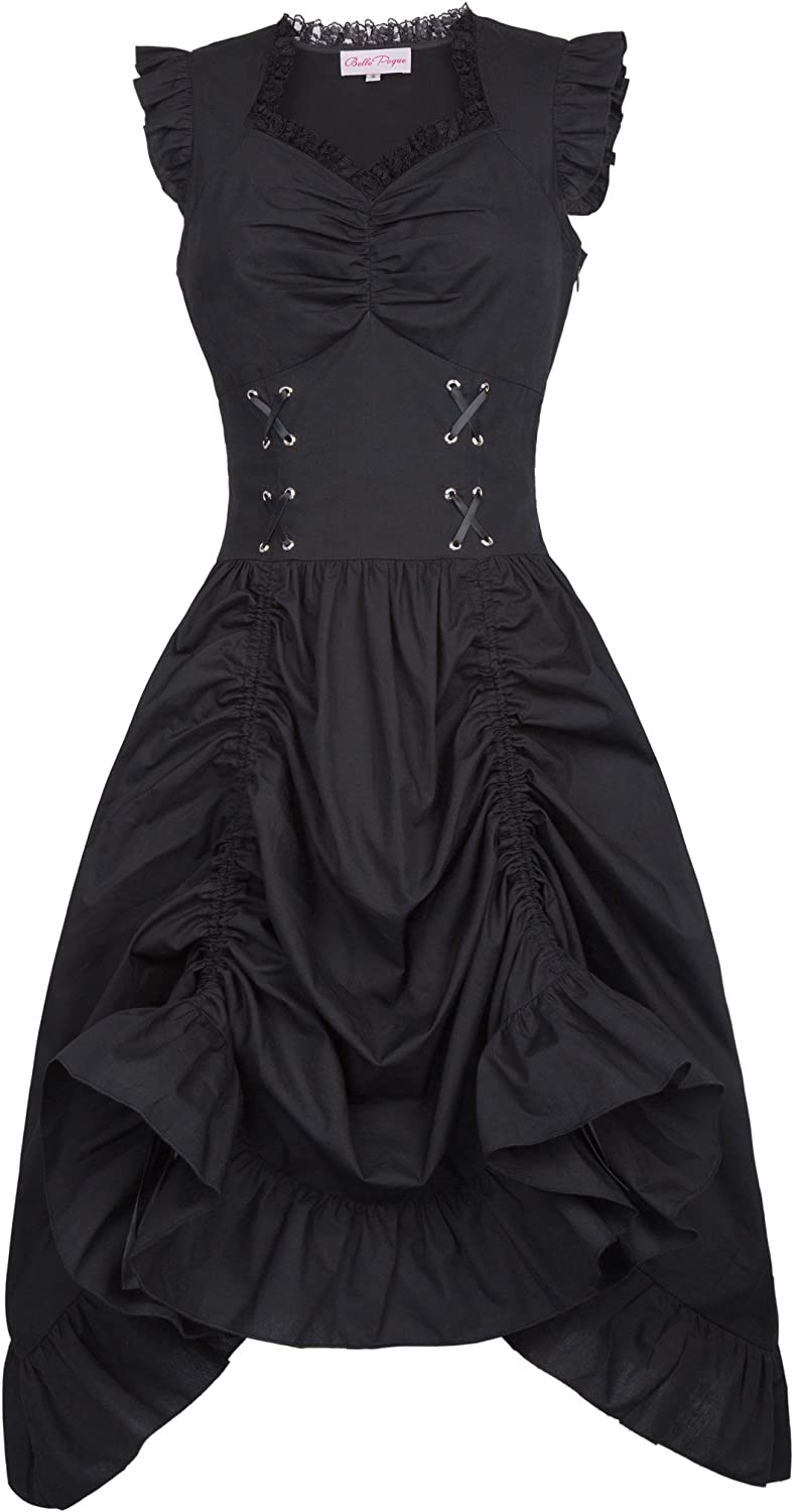 Belle Poque Vintage Black Steampunk Gothic Victorian Prom Dress Sleeveless BP000364