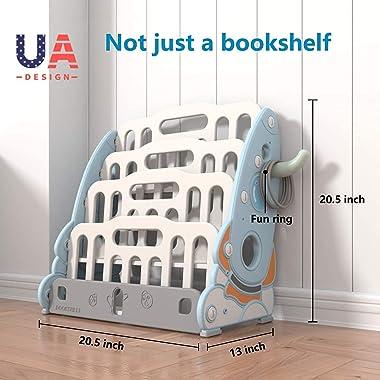SHEEPAM Kids Bookshelf, 4 Tier Small Kids Reading Bookcase, Children Book Rack, Bookshelves for Kids Room, School, Kindergart