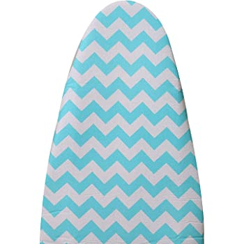 Homespace Iron Board Cover Blue Zig Zag Design with Extra Thick Foam and Felt Padding(Length 126-127cm X Width 45-46cm)