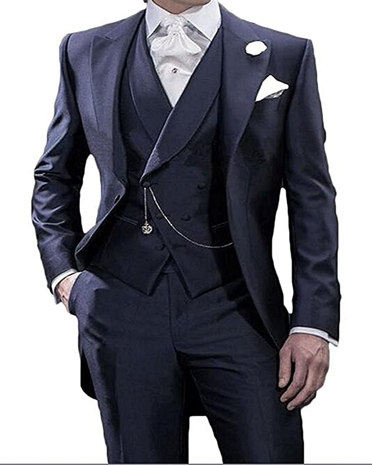 Mens Solid 3-Piece Suits Slim Fit Free shipping anywhere in the nation Lapel Jacksonville Mall Peak B Button Tuxedo One