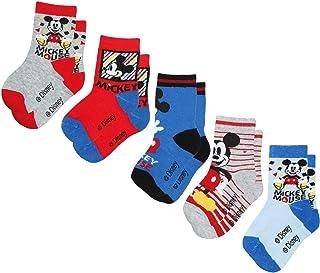 takestop - Juego de 5 Calcetines de algodón con diseño de Mickey Mouse, de Dibujos Animados de Disney, cálidos, para Invierno, para niña, fantasía 31-34 EU