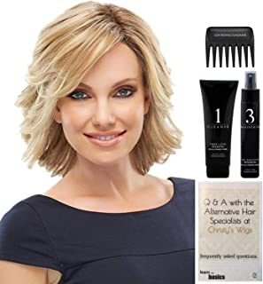BUNDLE - 5 Items: Elizabeth Heat Friendly Synthetic Wig by Jon Renau, Christy's Wigs Q & A Booklet, HD Smooth Detangler, Synthetic Shampoo & Wide Tooth Comb - Color: 12_30BT
