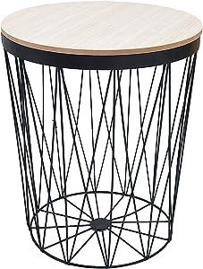 DuNord Design - Mesa Auxiliar (43 cm, Roble y Metal), Color Negro