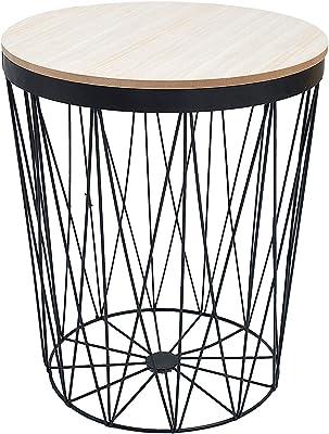 /Ø 30 x 29 cm in Metallo Tavolino da Salotto con Coperchio in Legno Rimovibile e Decorativo FineHome Bianco