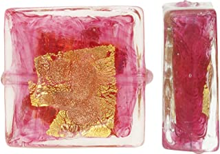 Murano Glass Bead, Rubino Pink Square 12mm with Gold, Silver and Aventurina, 2 Pieces