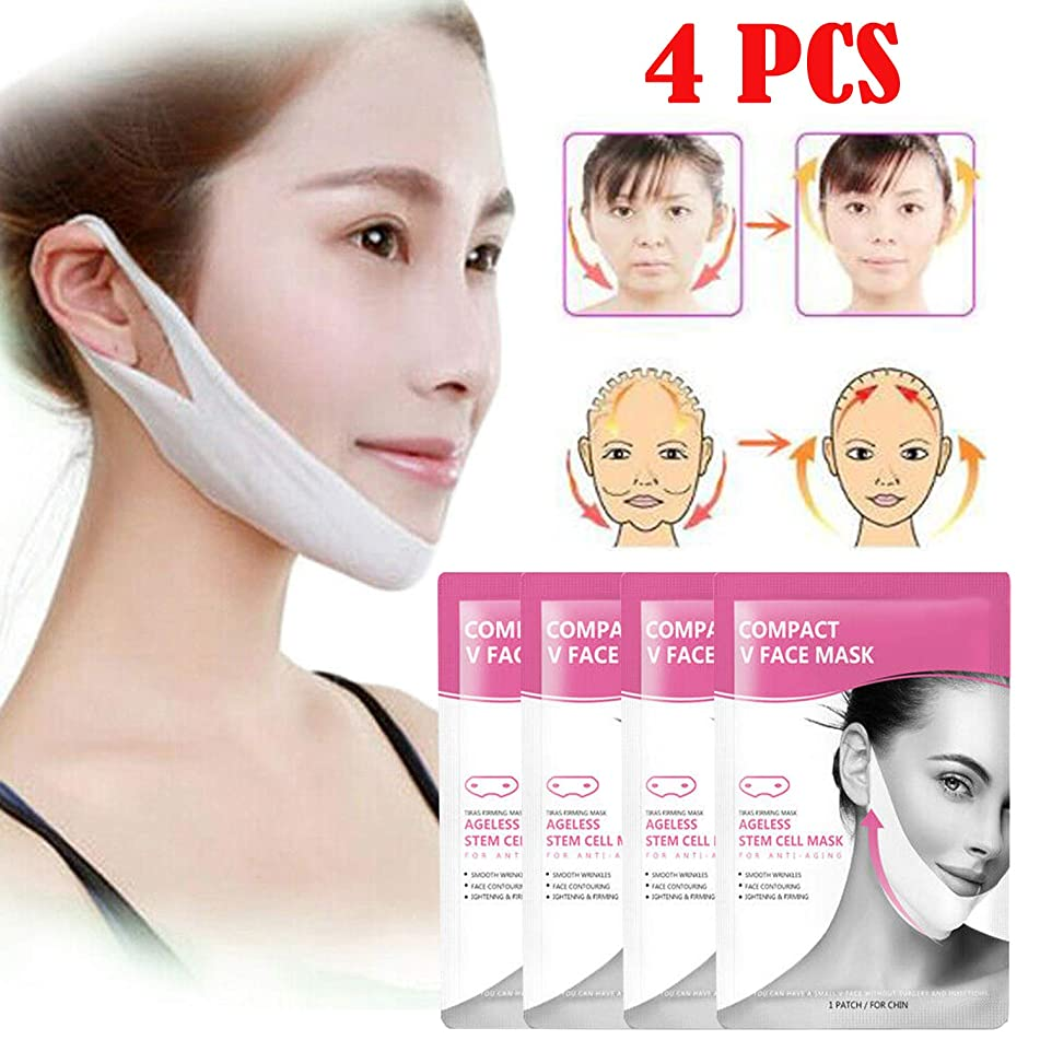 4Pc V-Shape Thin Face Mask Slimming Lifting Firming fat burn Double Chin V-line by Shopidea