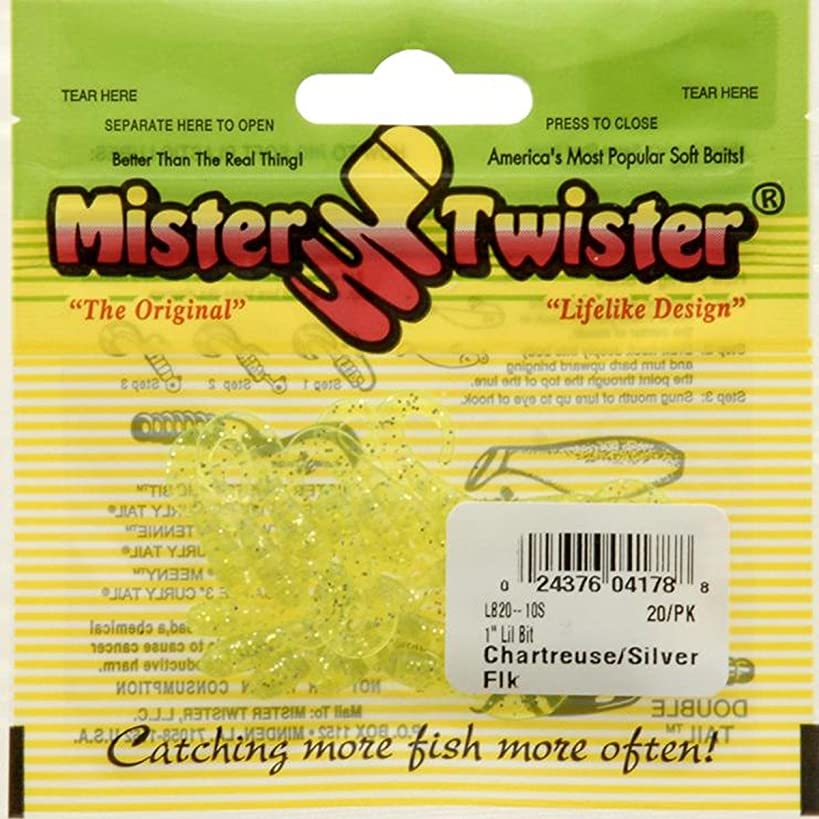 Mister Twister Lil' Bait, Chartreuse Silver, 1-Inch