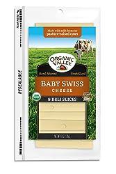 Organic Valley, Organic Baby Swiss Cheese, Sliced, 6 oz