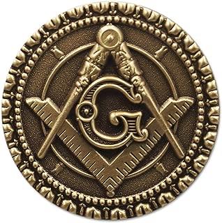 Square & Compass Round Antique Brass Freemasonic Lapel Pin - 1
