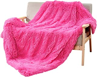 DECOSY Super Soft Faux Fur Couch Throw Blanket Hot Pink 60