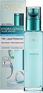L'Oreal Paris Hydra Genius hyaluronsyra + aloe flytande fuktkräm för normal till torr hud, 70 ml